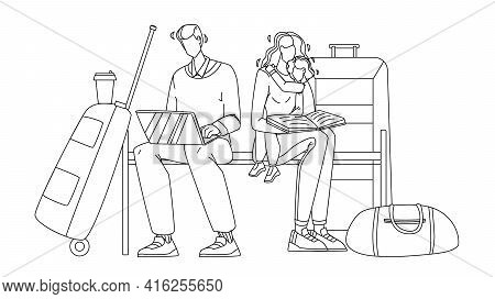 Delayed Flight Family Wait On Airport Black Line Pencil Drawing Vector. Man Working On Laptop And Wo