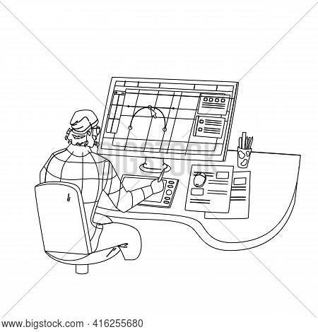 Designer Working On New Project At Computer Black Line Pencil Drawing Vector. Graphic Designer Man W