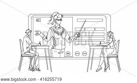 Digital Classroom Educational Web Lecture Black Line Pencil Drawing Vector. Boy And Girl Sitting At