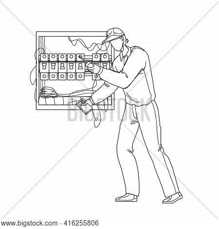 Electrical Engineer Checking Electric Panel Black Line Pencil Drawing Vector. Electrician Using Mete