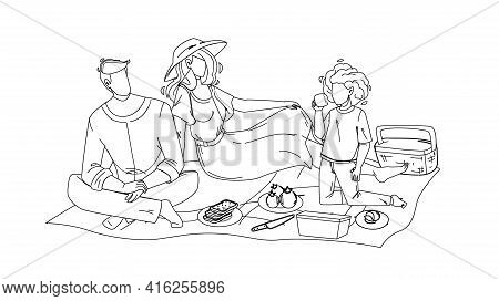 Family Picnic Man, Woman And Girl In Nature Black Line Pencil Drawing Vector. Father, Mother And Dau