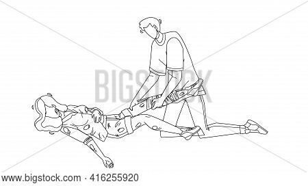 Man Providing First Aid Injured Young Girl Black Line Pencil Drawing Vector. Boy Provide First Aid B