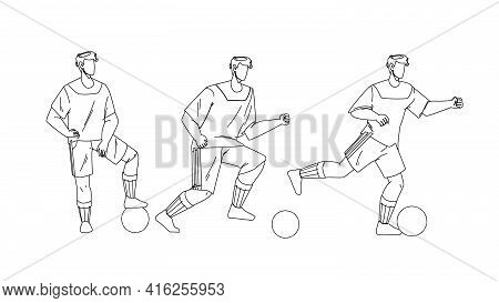 Football Player Playing And Kicking Ball Black Line Pencil Drawing Vector. Soccer Player Exercising