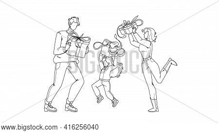 Gift Holding Family And Celebrate Holiday Black Line Pencil Drawing Vector. Gift Boxes Hold Father,