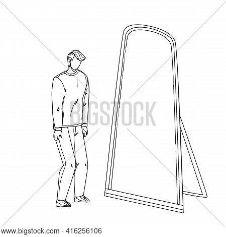 Man Seeing Himself In Mirror As Super Hero Black Line Pencil Drawing Vector. Shy Man Looking At Mirr