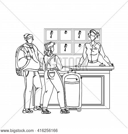 At Hotel Reception Registering Guest Couple Black Line Pencil Drawing Vector. Young Man And Woman To