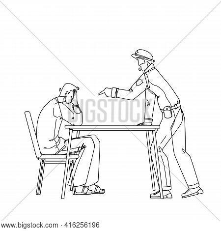 Policeman Interrogation Criminal Prisoner Black Line Pencil Drawing Vector. Detective Police Man And