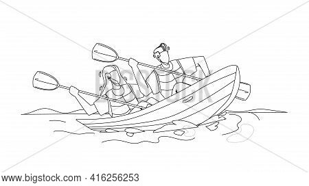 Kayak Travelling Couple People Together Black Line Pencil Drawing Vector. Young Man And Woman Sports