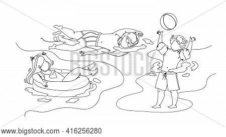Kids Swimming And Playing In Waterpool Black Line Pencil Drawing Vector. Boy Play With Ball And Swim