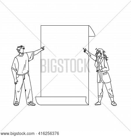 Look On Paper List Showing Boy And Girl Black Line Pencil Drawing Vector. Young Man And Woman Talkin