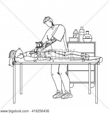 Artist Making Tattoo With Machine In Salon Black Line Pencil Drawing Vector. Man Professional Tattoo