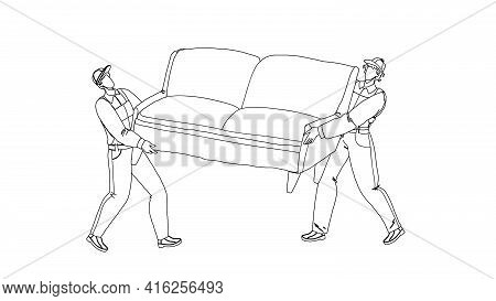 Movers Carry Sofa And Move To New House Black Line Pencil Drawing Vector. Transportation And Move Se
