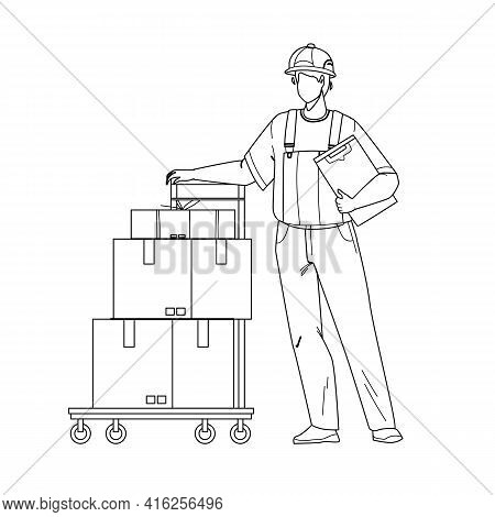 Mover Delivery Service Worker With Cart Black Line Pencil Drawing Vector. Mover Man Delivering Boxes