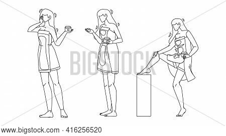 Girl Ointment Package And Massaging Leg Set Black Line Pencil Drawing Vector. Young Woman Holding Oi