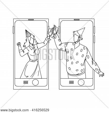 Online Celebrating Birthday Friends Couple Black Line Pencil Drawing Vector. Young Man And Woman Wea