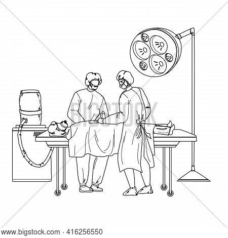 Medical Team Performing Surgical Operation Black Line Pencil Drawing Vector. Surgeon Doctor And Assi