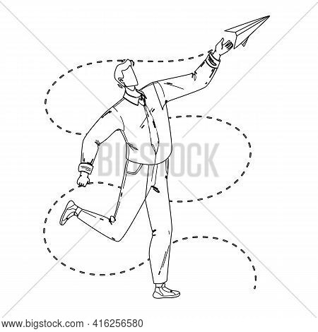 Paper Plane Launching Young Businessman Black Line Pencil Drawing Vector. Man Launch And Playing Wit