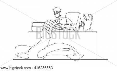 Businessman Busy With Paperwork In Office Black Line Pencil Drawing Vector. Man Accountant Paperwork