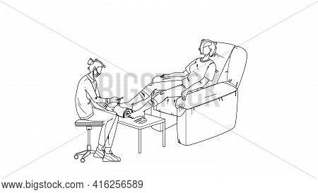Pedicure Getting Woman In Beauty Salon Black Line Pencil Drawing Vector. Pedicure Specialist Make Pr