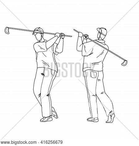Man Playing Golf And Hitting Ball With Club Black Line Pencil Drawing Vector. Golfer Play Golf And S