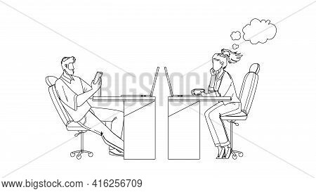 Procrastinating Office Workers Colleagues Black Line Pencil Drawing Vector. Man Play On Phone And Wo