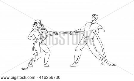 Pulling Rope Young Man And Woman Together Black Line Pencil Drawing Vector. Boy And Girl Pulling Rop
