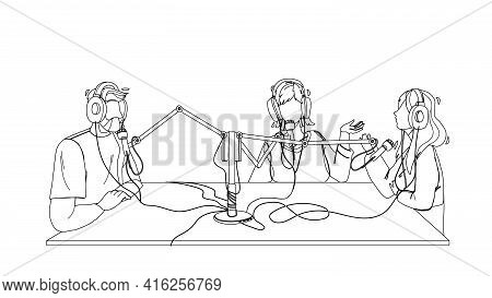 Radio Broadcast People Recording In Studio Black Line Pencil Drawing Vector. Man And Women Discussin