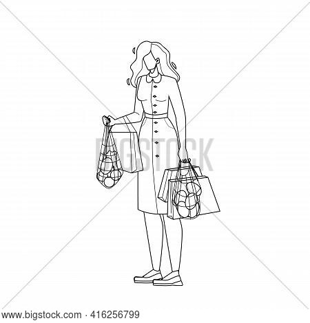 Woman Holding Recycling Shopping Packages Black Line Pencil Drawing Vector. Young Girl Hold Recyclin