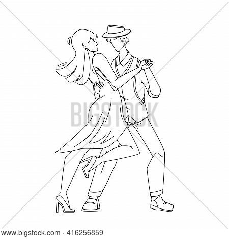 Salsa Dancing Performing Dancers Couple Black Line Pencil Drawing Vector. Young Man And Woman Permfo