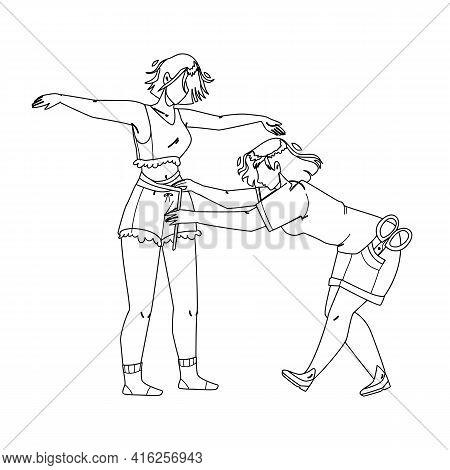 Seamstress Taking Measurement Girl Body Black Line Pencil Drawing Vector. Seamstress Measuring Size