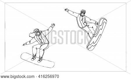 Snowboarding Sport People On Snowy Mountain Black Line Pencil Drawing Vector. Young Man And Woman Sn