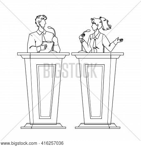 Speaker Discussing With Opponent At Tribune Black Line Pencil Drawing Vector. Speaker Woman And Man