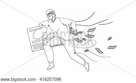 Thief Man Stealing Money From Credit Card Black Line Pencil Drawing Vector. Thief Running With Steal