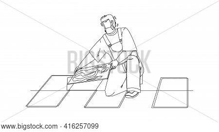 Tiler Man Installing Ceramic Floor Tiles Black Line Pencil Drawing Vector. Tiler Repairman Contracto