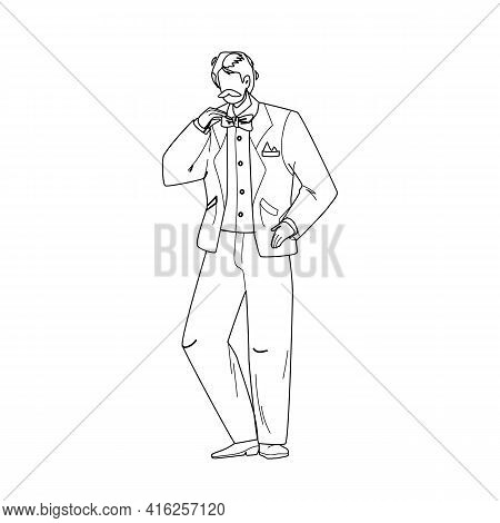 Tuxedo And Butterfly Tie Wearing Young Man Black Line Pencil Drawing Vector. Whiskered Businessman W