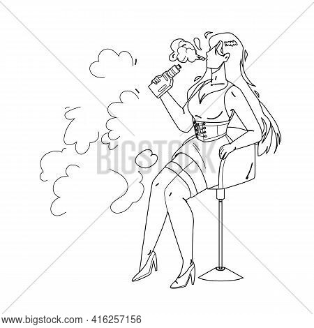 Vape Girl Smoking Electronic Cigarette Black Line Pencil Drawing Vector. Pretty Young Vape Girl Sitt