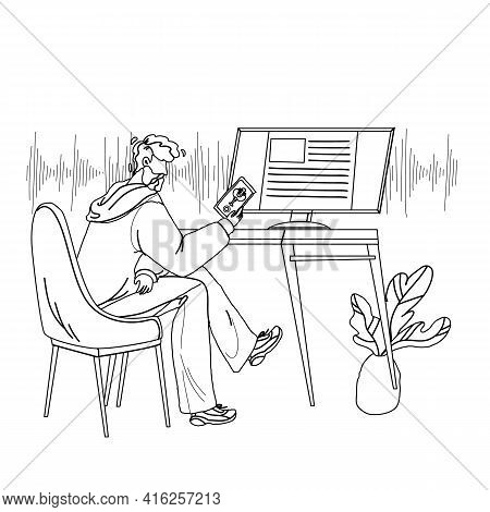 Voice Assistant Using Man On Smartphone Black Line Pencil Drawing Vector. Boy Talking With Digital A