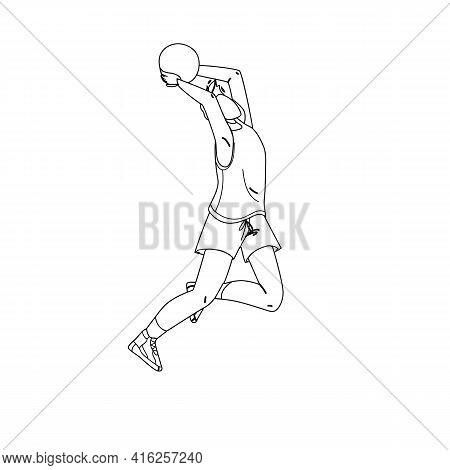 Volleyball Player Jump And Throwing Ball Black Line Pencil Drawing Vector. Sportsman Playing Volleyb