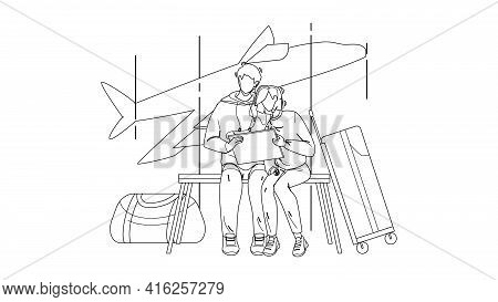 Couple Waiting Flight In Airport Terminal Black Line Pencil Drawing Vector. Young Man And Woman Watc