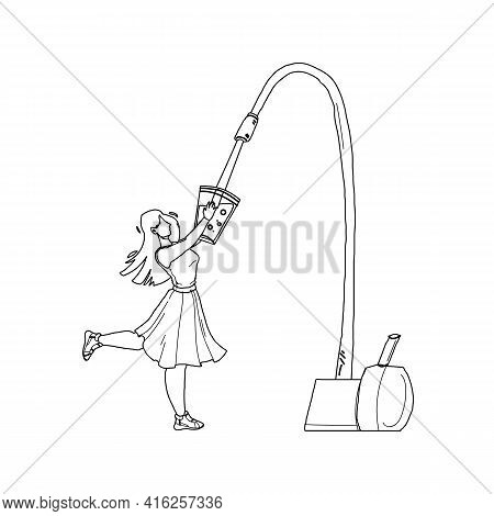 Water Filter Faucet Pouring In Glass Girl Black Line Pencil Drawing Vector. Young Woman Holding Cup