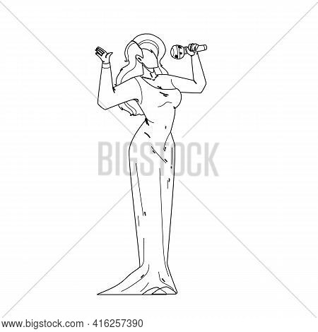 Woman Singer Singing Song In Microphone Black Line Pencil Drawing Vector. Blonde Hair Young Girl Sin