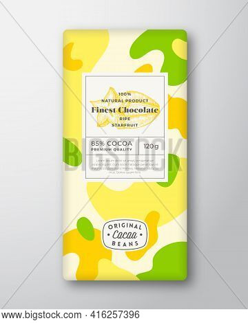 Starfruit Chocolate Label. Abstract Shapes Vector Packaging Design Layout With Realistic Shadows. Mo