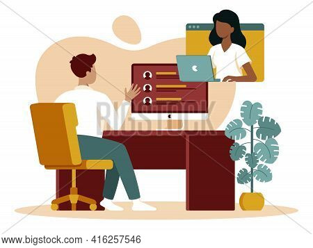 Colourful Flat Vector Illustration Of Online Interview