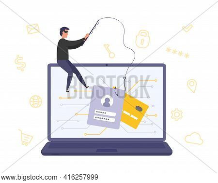 Concept Of Online Fraud, Phishing, Hacking Account. Cyber Crime - Personal Data Hacking