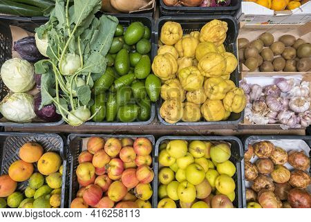 Tarifa, Spain - 25/10/2016: Vegetables And Fruits In Rustic Plastic Box Top View. Healthy Eating, Co