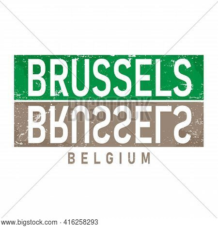 Vector Illustration, Lettering Composition, Bruxelles Belgian City Written In French, Calligraphy, H