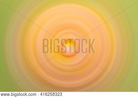 Abstract Round Yellow Background. Circles From The Center Point. Image Of Diverging Circles. Rotatio