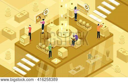 Isometric Vector Illustration Of Organizational Life Cycle