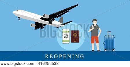 Reopening Airplane Travel After Covid-19 Vaccination. Illustration Of Tourist, Travel Baggage, Passp