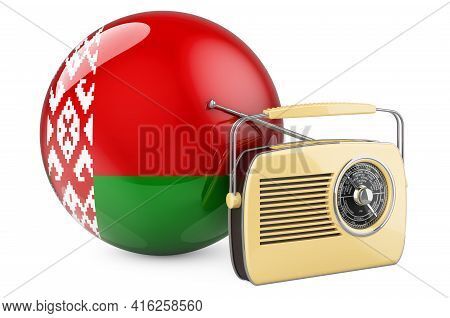 Radio Broadcasting In Belarus Concept. Radio Receiver With Belarusian Flag. 3d Rendering Isolated On